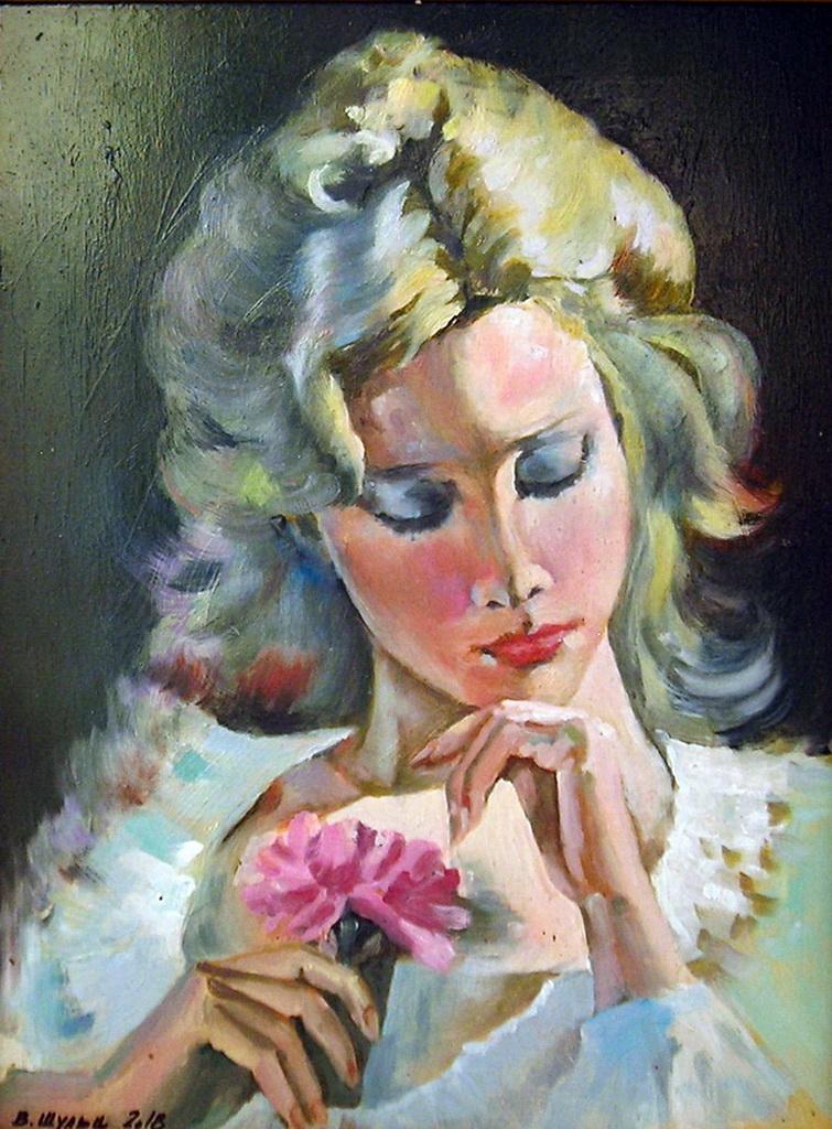 Портрет девушки с цветком. Вид 1