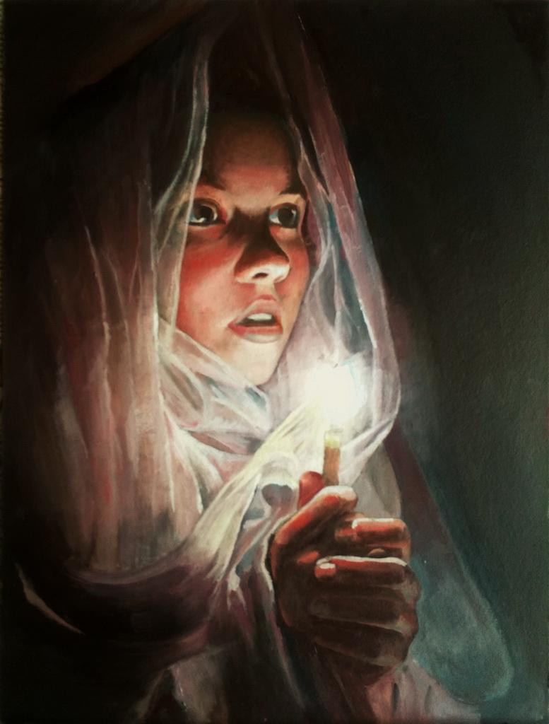 Портрет девушки с горящей свечой. Вид 1