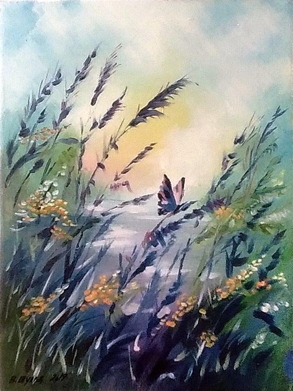 Бабочка в цветах. Вид 1
