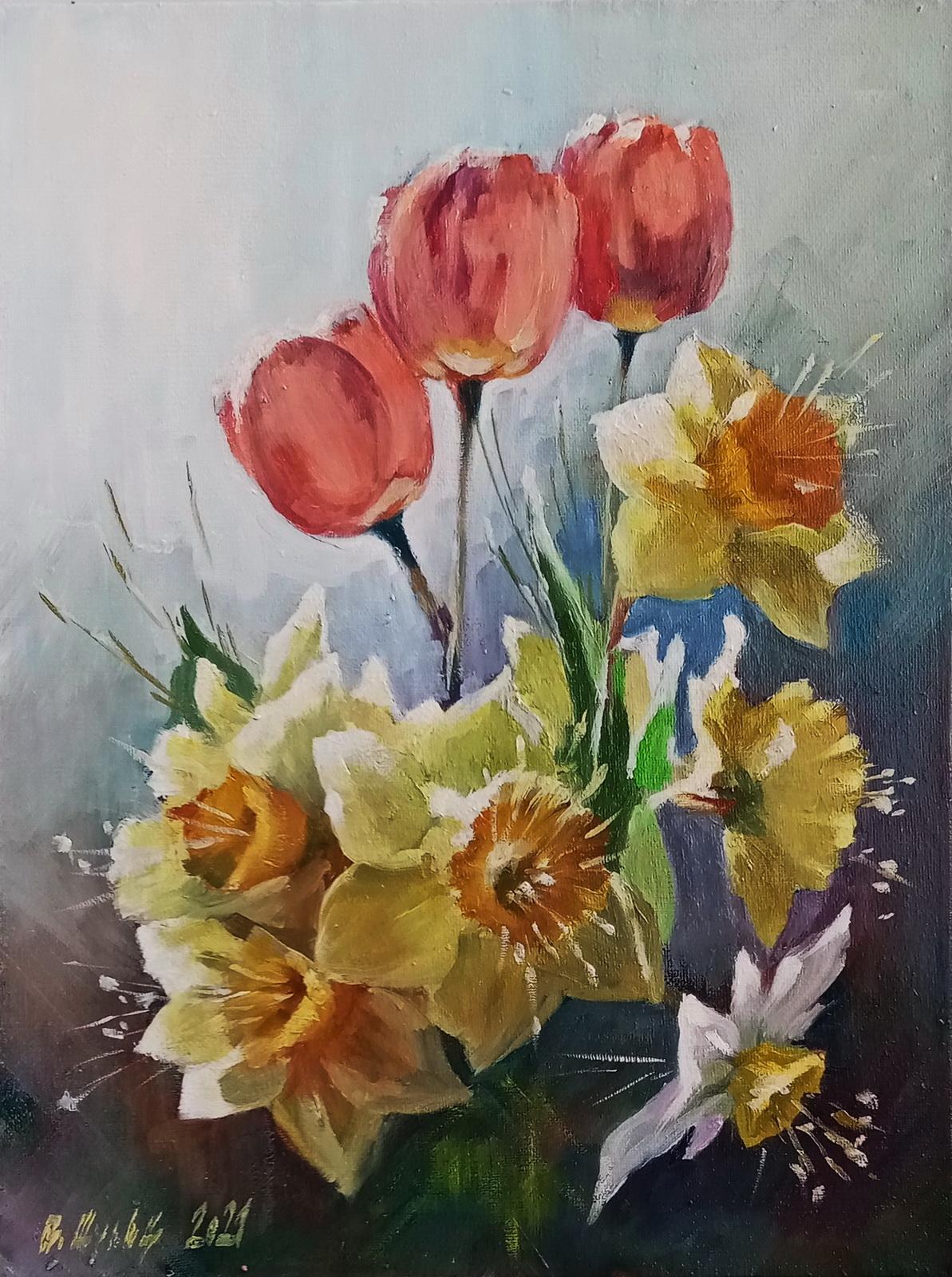 Тюльпаны с нарциссами. Вид 1