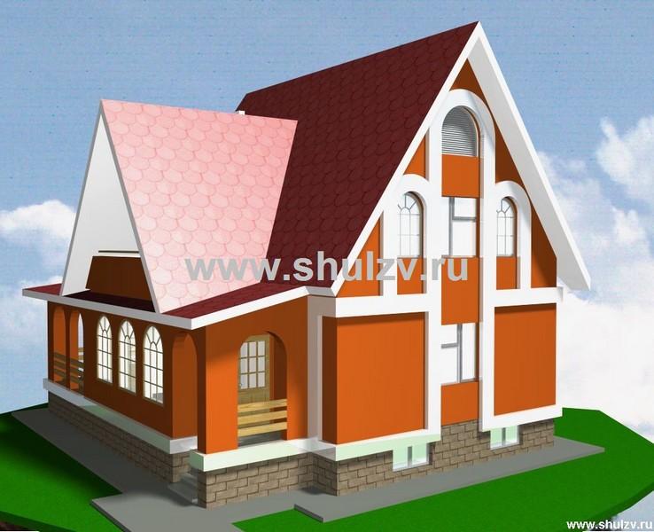 Двухэтажный четырехкомнатный жилой дом с подвалом