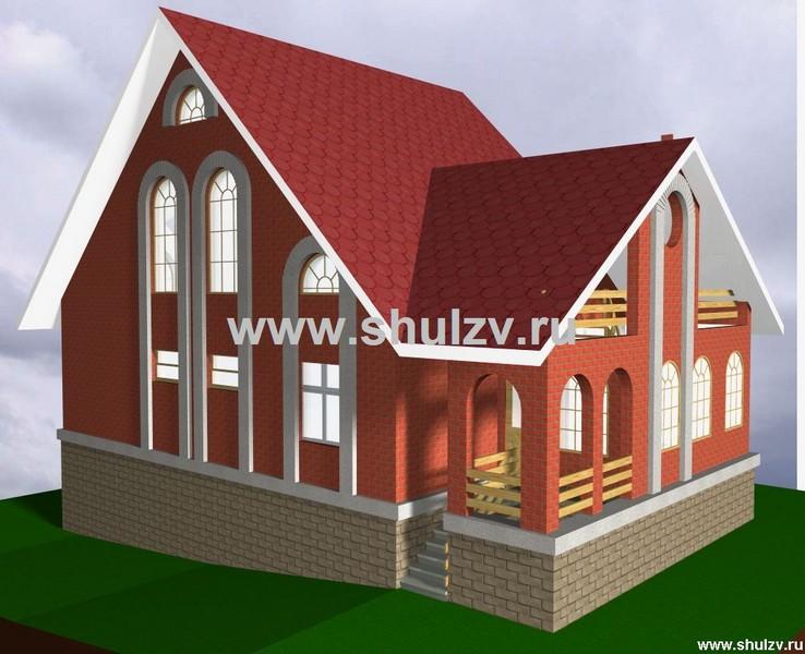 Двухэтажный четырехкомнатный жилой дом с гаражом в цокольном этаже.