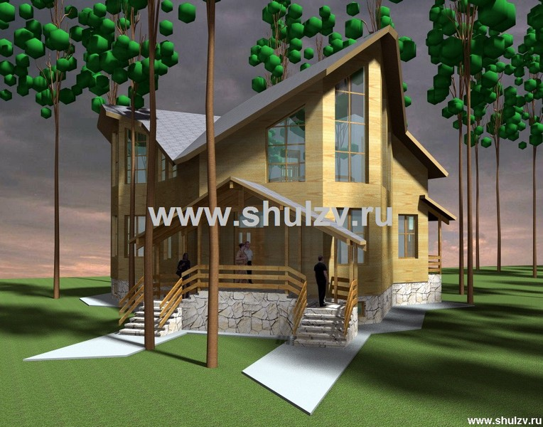 Двухэтажный четырехкомнатный жилой дом.