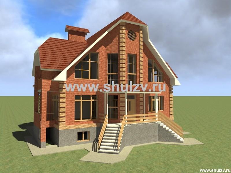 Двухэтажный семикомнатный жилой дом с  цокольным этажом.