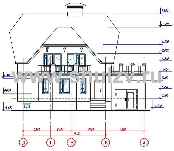 Двухэтажный четырехкомнатный жилой дом с подвалом и гаражом.