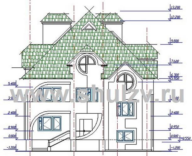 Двухэтажный шестикомнатный жилой дом с подвалом и гаражом.
