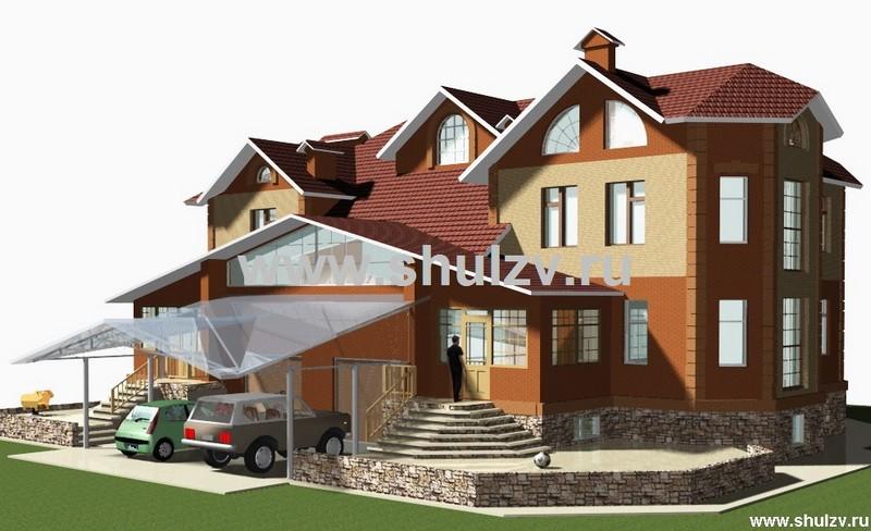 Двухэтажный двухквартирный жилой дом с цокольным этажом и гаражом.