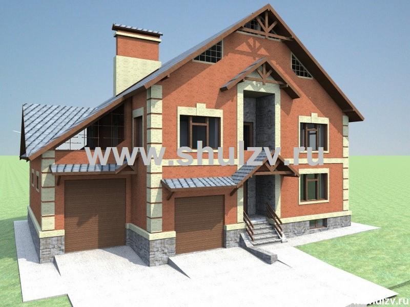Двухэтажный пятикомнатный жилой дом с подвалом и двумя гаражами