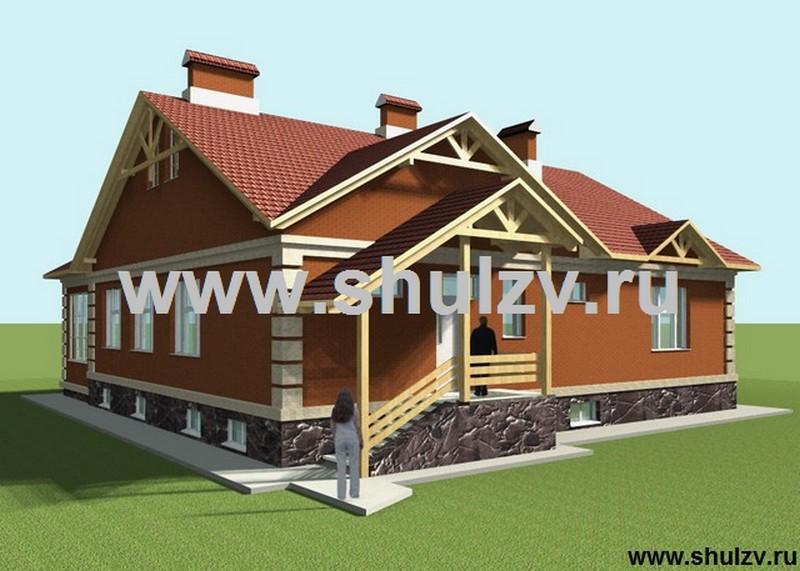 Одноэтажный четырехкомнатный жилой дом с подвалом